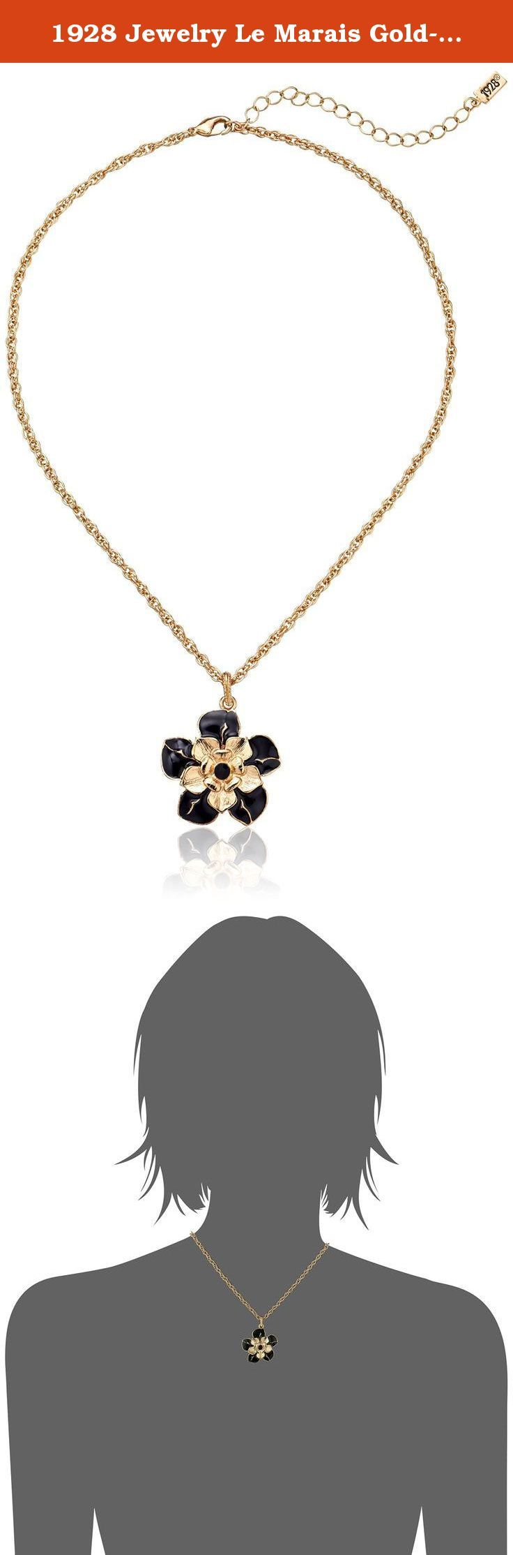 """1928 Jewelry Le Marais Gold-Tone Enamel Flower Pendant Necklace, 16"""". This 16"""" adjustable gold-toned chain features a gilded pendant with black enameled petals. Two sets of gold-toned flowers are layered above the black petals while a black crystal dots the center of the entire pendant."""