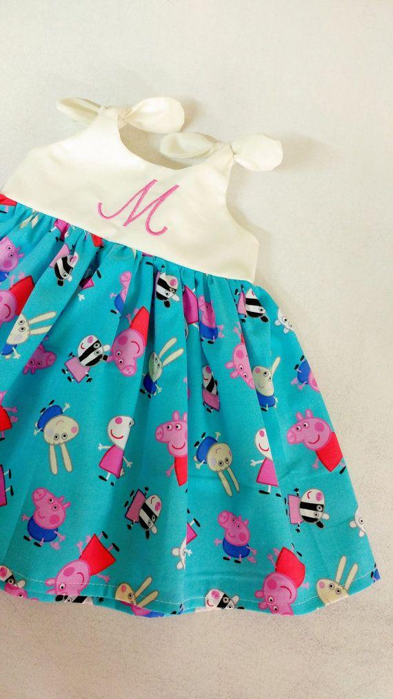Peppa pig dress girls monogrammed peppa pig by ShelbyJaneandCo