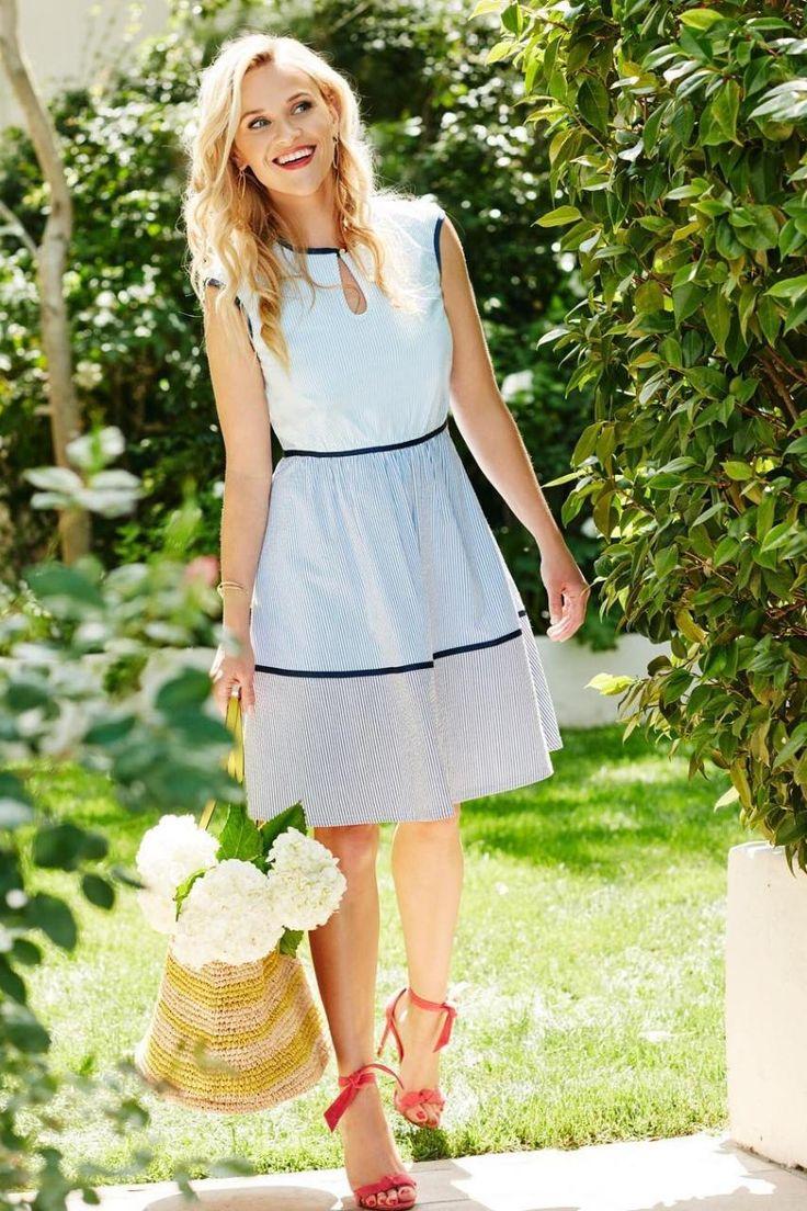 Reese Witherspoon wearing Draper James Sarabeth Seersucker Panel Dress, Draper James Straw St Simon Bag and Alexandre Birman Clarita Heels
