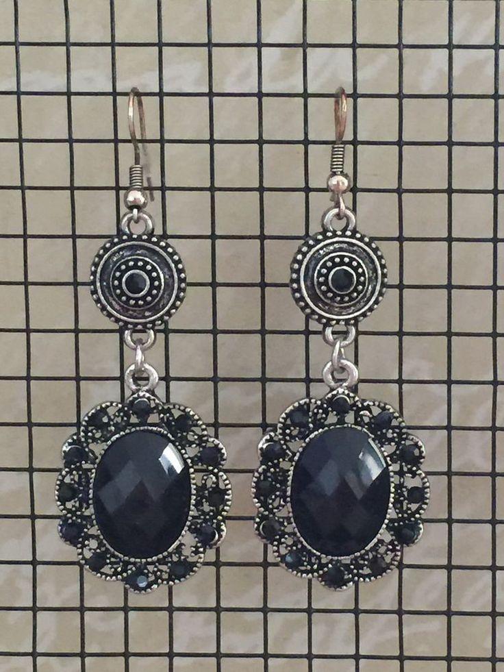 Ladies Ear Rings NEW Boho Black Silver Boho Gypsy Festival Dangle Casual Style