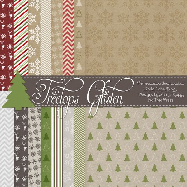Free: 18 designed digital scrapbooking papers for Christmas by Erin Rippy of @Erin Rippy - Ink Tree Press