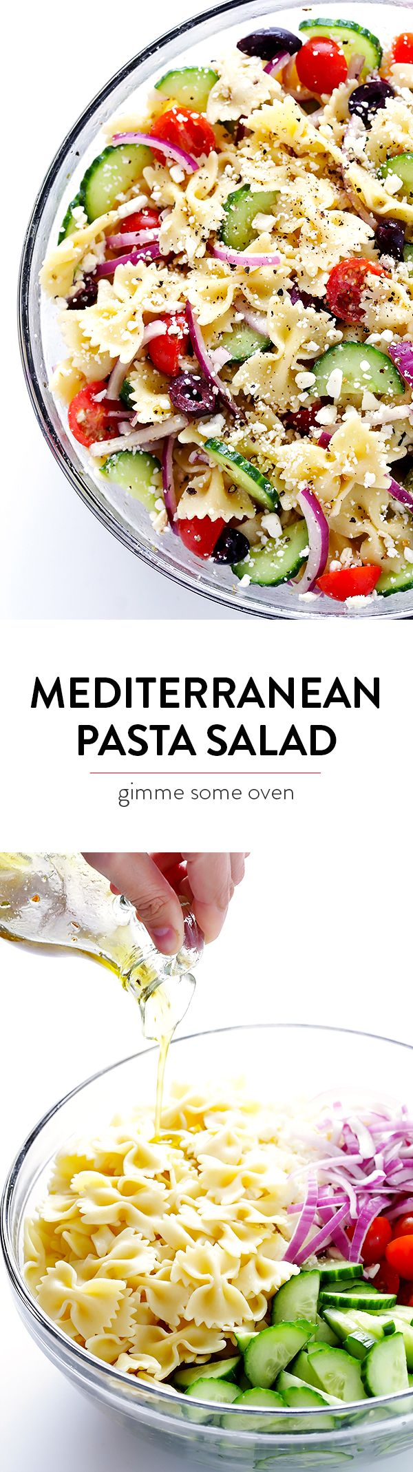 Mediterranean Pasta Salad -- quick and easy to make, and tossed with a tasty lemon-herb vinaigrette | gimmesomeoven.com