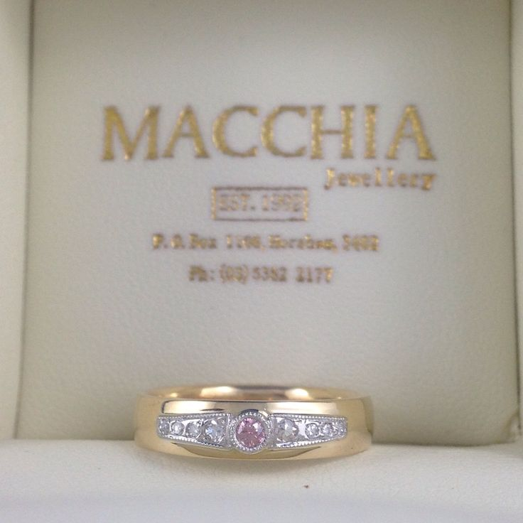 Pink diamond set wedding band with antique style and white diamonds either side. Perfect love match. Made by Macchia Jewellery, Horsham, AU