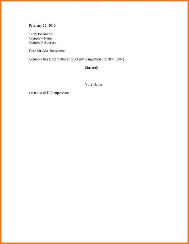 Simple Resignation Letter Example 11 Resignation Letter