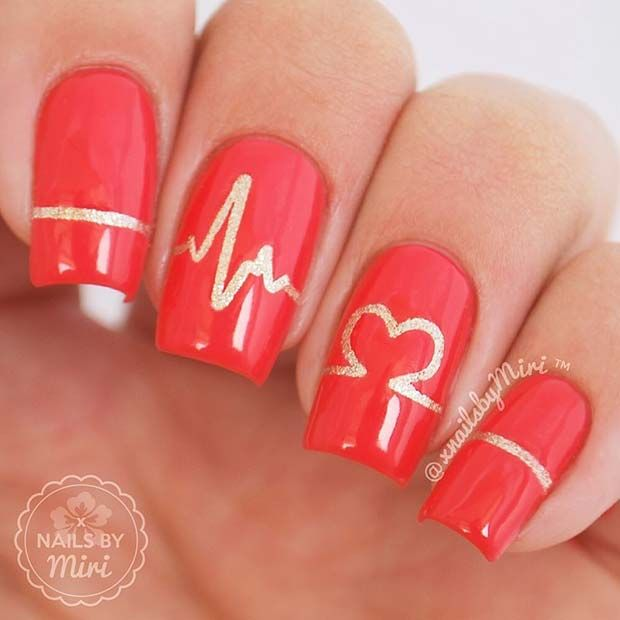 Red and Gold Heartbeat Nail Art Design