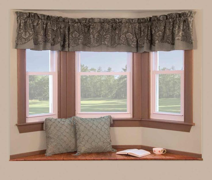 Bay Window Curtains | Pale Bay Window With Curtains And Pillow