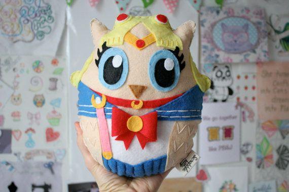 Sailor Moon Owl - Handmade Felt Plush Toy