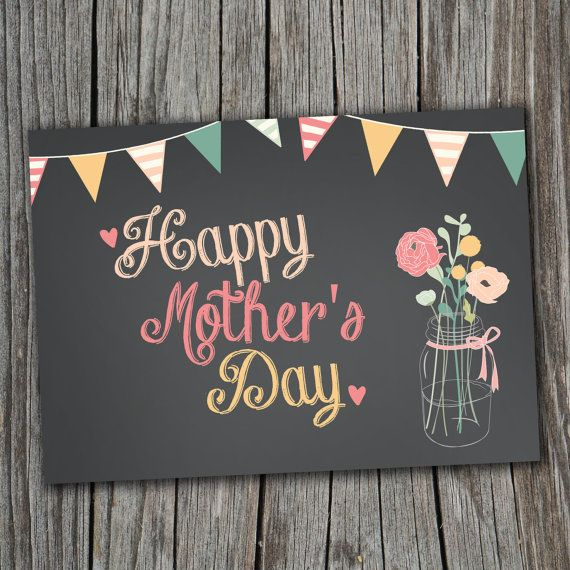 Etsy Mother's Day Card - Printable, Custom - DIY, MODERN, Chalkboard, Rustic, INSTANT Download for $4.00