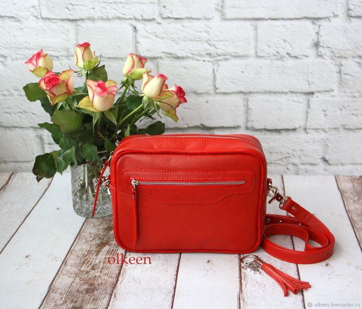 Купить Кожаная кроссбоди Kerry красная - сумка, сумка кожаная, сумка из натуральной кожи