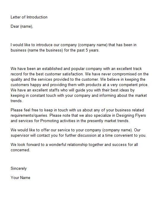 Business Introduction Letter Sample Business Introduction Letter