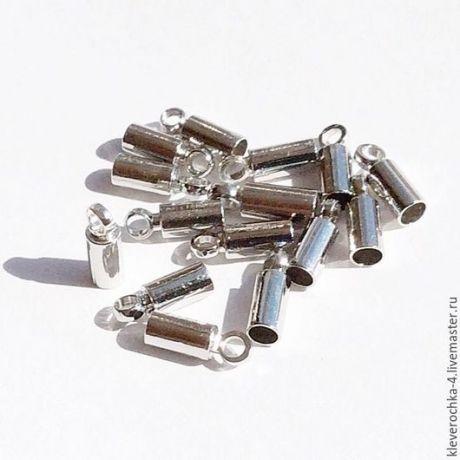 Купить 10 шт/ Концевики 8 мм для шнуров и жгутов цвет никель (платина) - серебряный