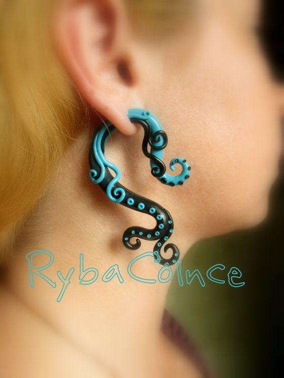 Fake ear tentacle gauge - Faux gauge/Gauge earrings/Tentacle plug / fake piercing  The sea dragon