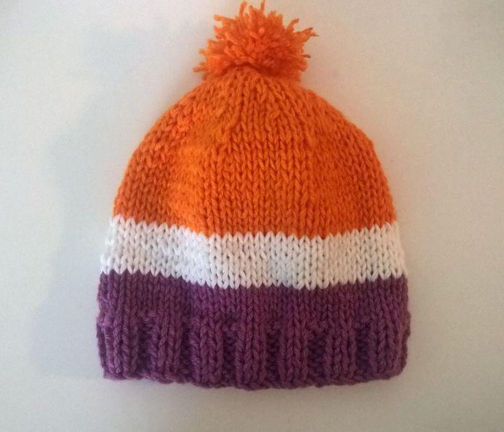 Bonnet Ski neige laine homme femme mixte adulte orange violet blanc pompon