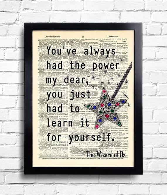 De tovenaar van Oz heb je altijd de kracht die je alleen hoefde aan te leren voor jezelf citaat POSTER OZ kunst bedrukken WOORDENBOEK fotoboekpagina 047