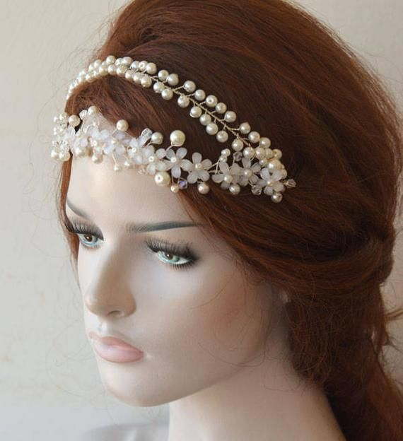 Pearl Wedding Headband, Ivory Floral Headpiece, Wedding Hairpiece, Bridal Pearl Double Tiara, Wedding Hair Accessories, Bridal Hairband-         –  #A…