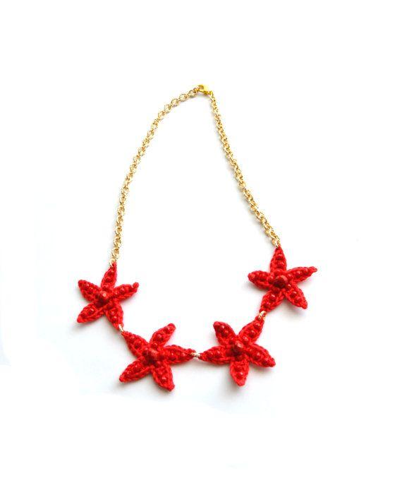 Prezioso girocollo stelle marine collana rossa con catena di VereV