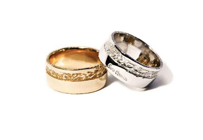 Fedi Nuziali artigianali Collezione Sposi Eros Comin Gioielli . Fedi a fascia in oro 18 kt.