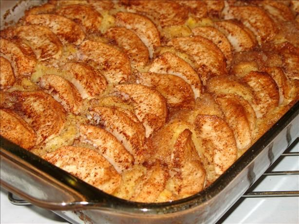 Apple Sour Cream Kuchen from the Cake Mix Doctor.  Used a white cake mix and it was tasty!