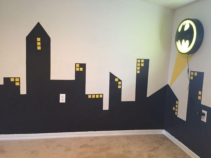 14 best images about batman bedroom on pinterest for Batman cityscape wall mural