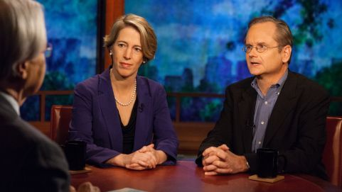 """'Full Show: The Bare Knuckle Fight Against Money in Politics' Bill Moyers interviews Zephyr Teachout (Constitutional and property law professor) and Lawrence Lessig (Harvard Law Professor). ' """"Our democracy is flat lined. Because when you can show clearly there's no relationship between what the average voter cares about, only if it happens to coincide with what the economic elite care about, you've shown that we don't have a democracy anymore."""" - Lawrence Lessig"""