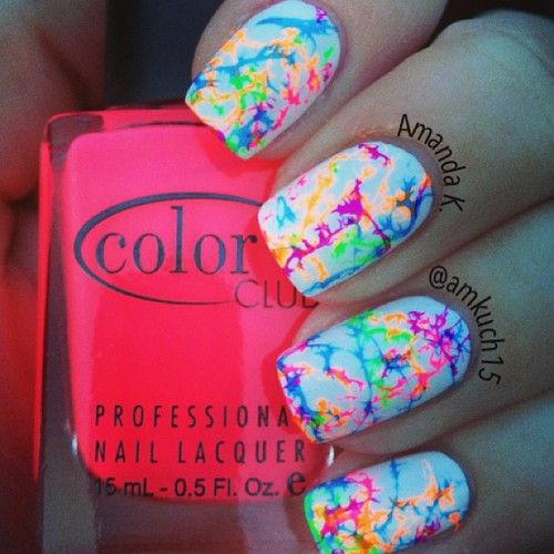 water spotted neon nails... Interesting
