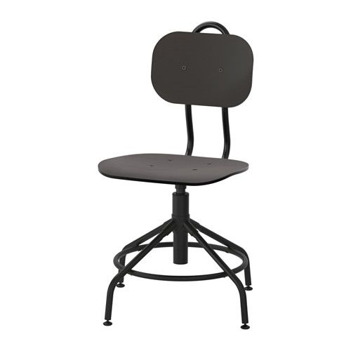 IKEA - KULLABERG, Swivel chair, , A desk chair inspired by old-fashioned industrial-style chairs, complete with modern functions.Comfortable seating position, thanks to the swivel and adjustable height.The metal ring underneath can be used as a footrest.Easy to move and lift thanks to the backrest handle.Adjustable feet for increased stability on uneven floors.