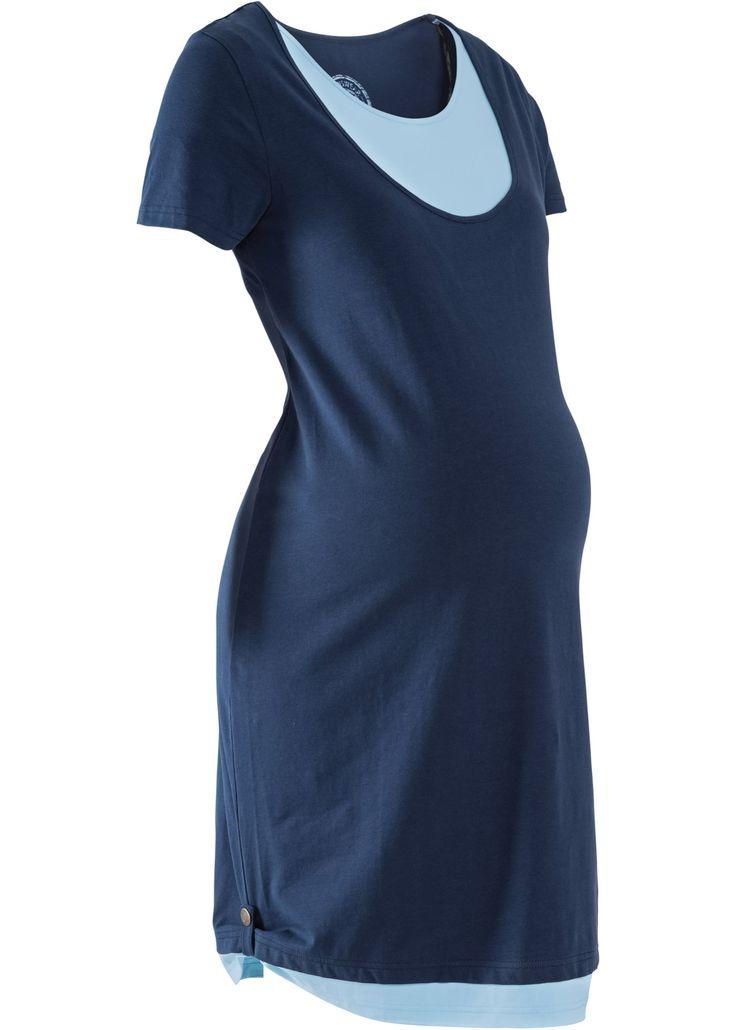 Для будущих и кормящих мам: трикотажное платье, bpc bonprix collection, темно-синий/нежно-голубой