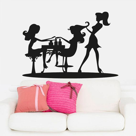 Wall decal vinyl sticker decals art decor design hair for Stickers salon design