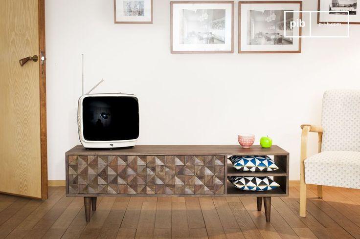 El mueble TV Balkis es un mueble TV o una consola retro que se puede colocar en cualquier interior.