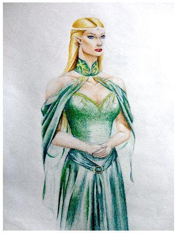 Entry 41 'The Elf Queen' in coloured pencil by Brighid Walton #fantasy #art