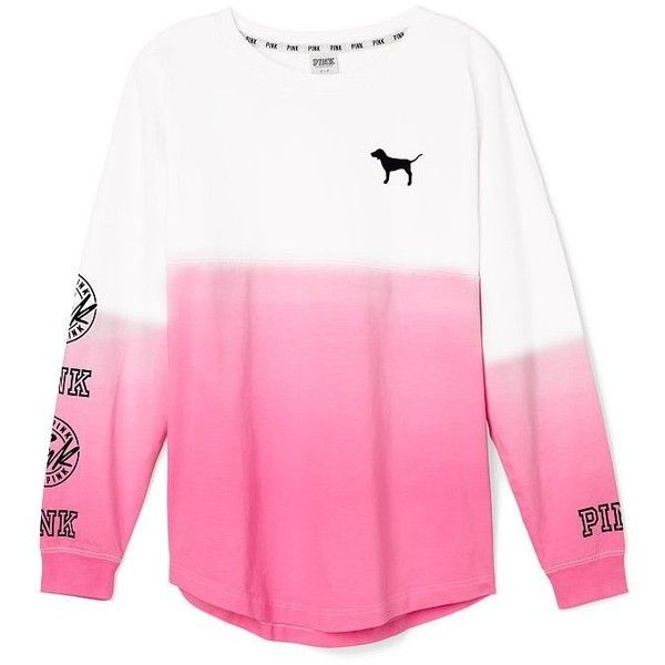 Victoria's Secret PINK Varsity Crew Dip Dye Pink Small at Amazon... ($70) ❤ liked on Polyvore featuring tops, victoria's secret, dip dye top, crew top, pink top and victoria secret tops
