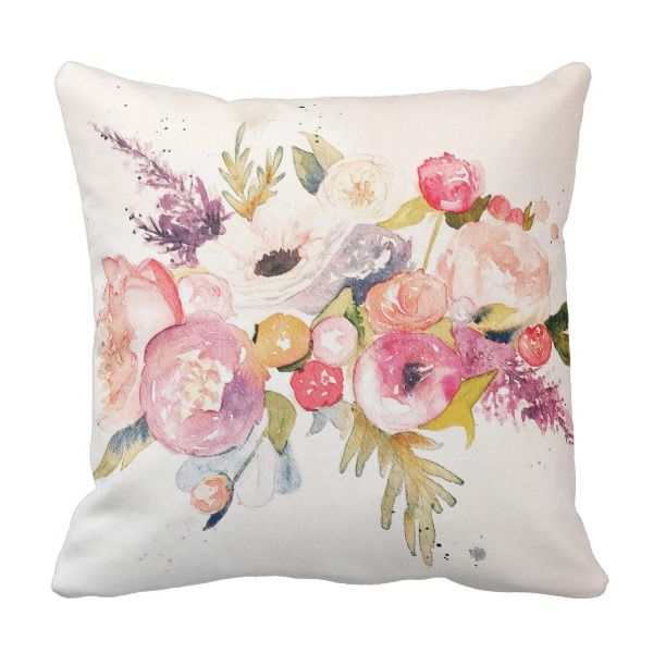 Watercolor Peonies And Flower Bouquet Pillow Zazzle Com Watercolor Peonies Pillows Flower Drawing