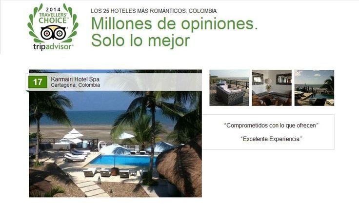 """En Tripadvisor han premiado a """"Los 25 #Hoteles más románticos: #Colombia"""", nosotros hemos sido galardonados con este importante premio... En esencia, #Karmairi #Hotel #Spa es un escenario romántico, ubicado frente a una #playa virgen y en una atmósfera completamente natural."""