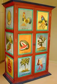 Mexican hand-painted furniture.  A great craft idea.  You don't even have to paint pictures.
