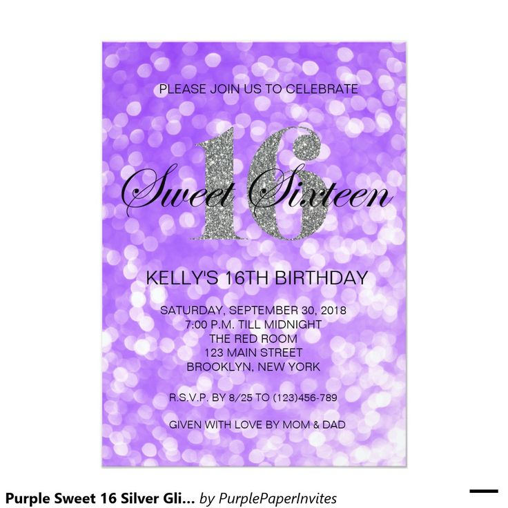 Purple Sweet 16 Silver Glitter Lights Invitation