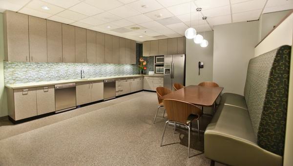 Open break room design idea open but separate work areas for Office kitchenette design