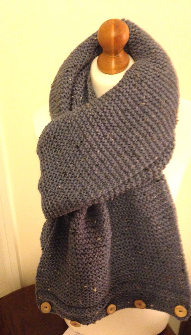 Gorgeous Oversized Tweed Aran Buttoned Scarf  By Col Kay