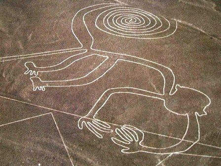 Peru: Nazca Lines. Another reason why I want to visit Peru one day. These shapes are only viewable from the air. Simply amazing""