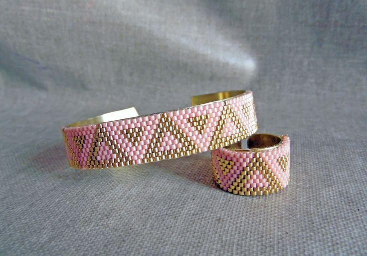 Parure perles Miyuki bracelet et bague amérindien huichol Parure tissée…