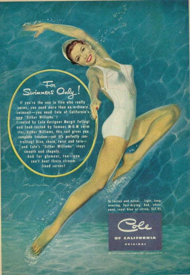 Ad for Cole of California, starring Esther Williams – 1952.