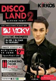 """Kirkos Bar & Restaurant Proudly Present """"Disco Land Volume 2"""" CLOSING PARTY! Don't Miss A Chance To Dance with DJ VICKYFeaturing DJ Tripleks/ DJ Zam/DJ HD/and MC Andrezz (Spinach)Wednesday, 25 JUNE 2014  @ Kirkos! Bar & RestaurantCiputra World lvl 4thPARTY START AT 9pm!Special promo : DRINKING FROM BOTTLE (get 2 BOTTLES, 2 Snacks and 1 Mixer) start from :IDR 1.100.000 (Jose Cuervo, Absolute Vodka, JW Red Label, Gordon Gin, Bacardi Rum, Martini Rosso / Bianco)IDR 1.580.000…"""