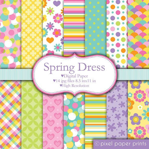 Spring Dress  Set de papeles digitales por pixelpaperprints en Etsy
