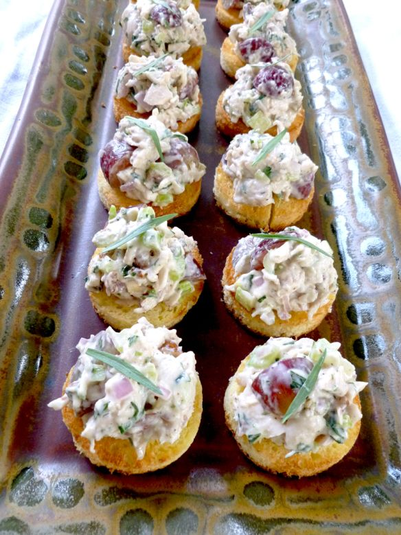 Tarragon Pecan Chicken Salad on Crostini. This looks like a great snack for a hot day at the lake or beach. Maybe a glass of crisp white wine too!!