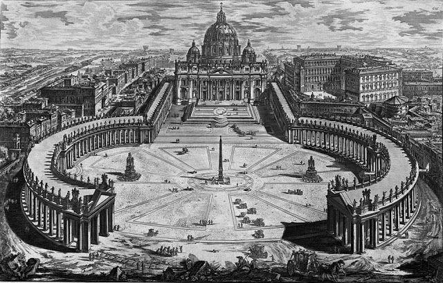Giovanni Battista Piranesi, View of eminent Vatican Basilica with the wide porch and adjacent square, 1748