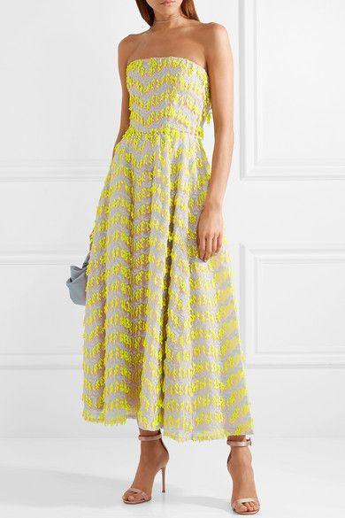 e1634ad4ea72 Carolina Herrera - Strapless embroidered organza midi dress   Oooo ...