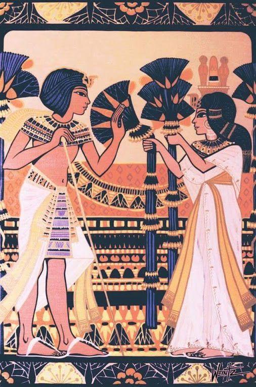 King Tut & Wife Ankhesenamun........ Beautiful #Art