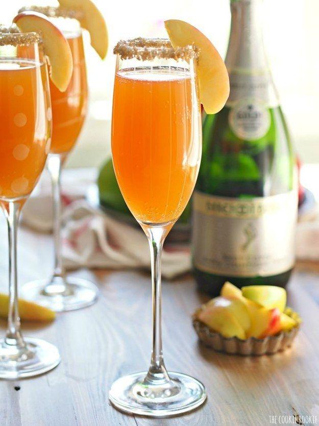 Toast with festive apple cider mimosas.