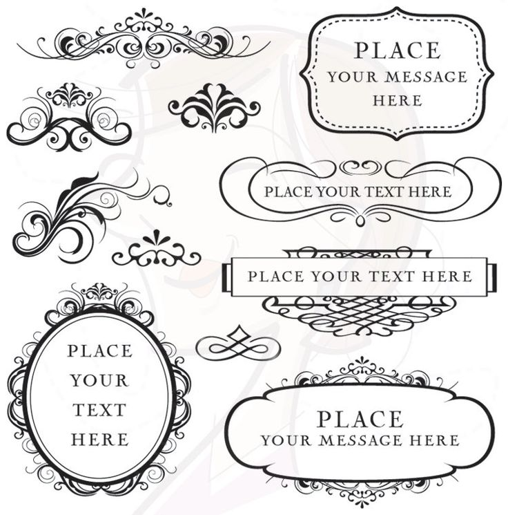 Digital clipart frames flourish commercial use vector