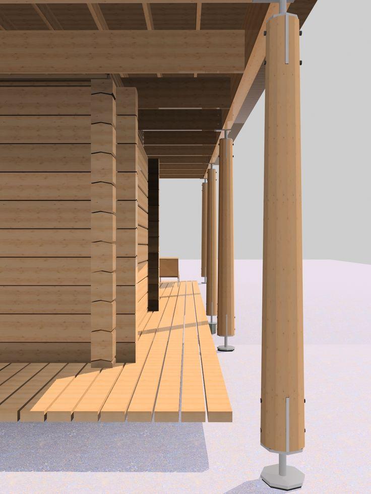Парящая прямоугольная кровля на деревянных столбах позволяет максимально точно описать свободный план постройки: парную, моечную, «предбанник»-гостиную, открытую галерею-террасу.