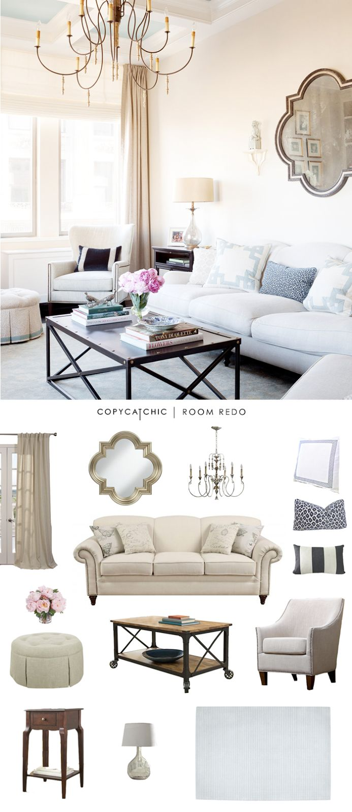 TOTAL | $2,483 sofa $493 | chandelier $326 | lamp $99chair $326 | coffee table $255 | mirror $150side table $68 | ottoman $430 | striped pillow $25leopard pillow $32 | white and blue pillow (ea) $50ru